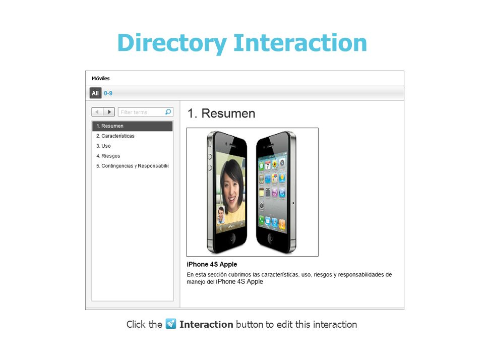 iPhone 4S de Apple Directory Interaction Click the Interaction button to edit this interaction