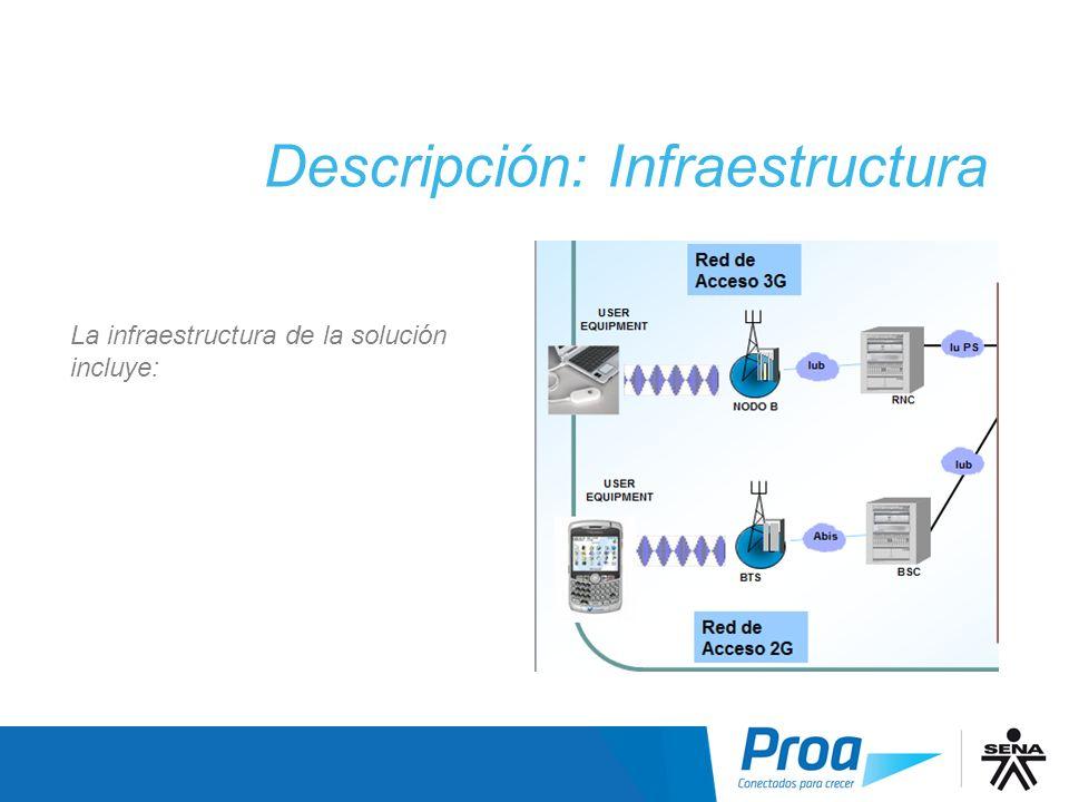 La infraestructura de la solución incluye: Descripción: Infraestructura