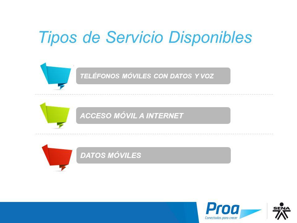 DATOS MÓVILES Tipos de Servicio Disponibles TELÉFONOS MÓVILES CON DATOS Y VOZ ACCESO MÓVIL A INTERNET Tipos de Servicio: Resumen