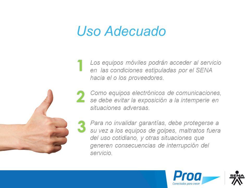 Los equipos móviles podrán acceder al servicio en las condiciones estipuladas por el SENA hacia el o los proveedores. Como equipos electrónicos de com