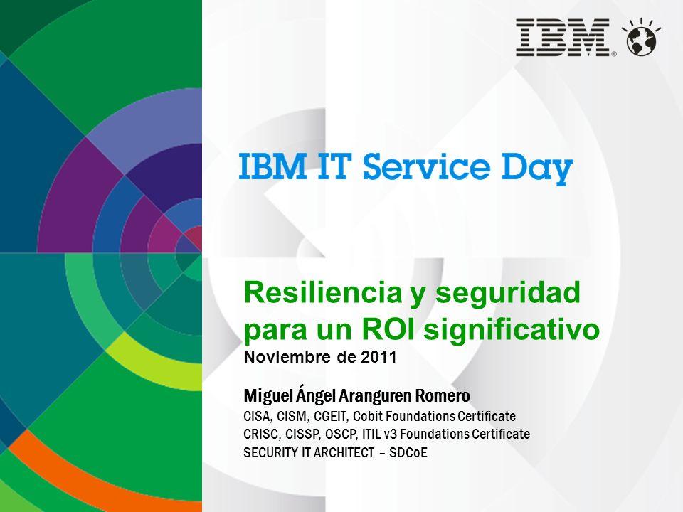 Resiliencia y seguridad para un ROI significativo Noviembre de 2011 Miguel Ángel Aranguren Romero CISA, CISM, CGEIT, Cobit Foundations Certificate CRISC, CISSP, OSCP, ITIL v3 Foundations Certificate SECURITY IT ARCHITECT – SDCoE