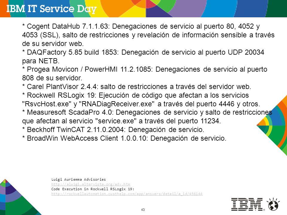 43 * Cogent DataHub 7.1.1.63: Denegaciones de servicio al puerto 80, 4052 y 4053 (SSL), salto de restricciones y revelación de información sensible a través de su servidor web.