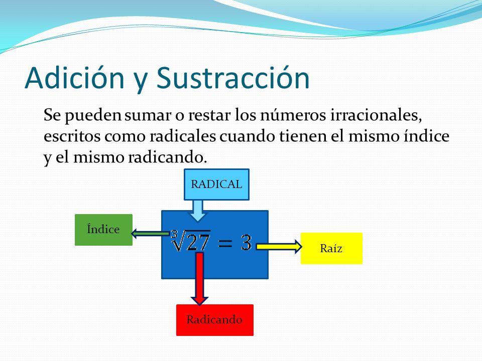 Adición y Sustracción Se pueden sumar o restar los números irracionales, escritos como radicales cuando tienen el mismo índice y el mismo radicando. Í