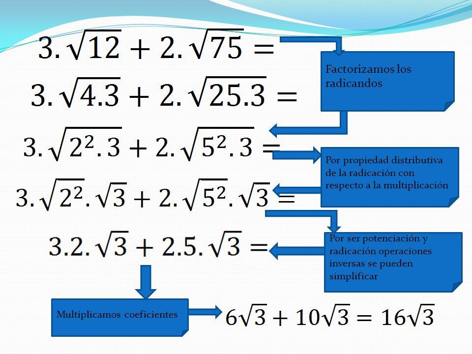 Factorizamos los radicandos Por propiedad distributiva de la radicación con respecto a la multiplicación Por ser potenciación y radicación operaciones
