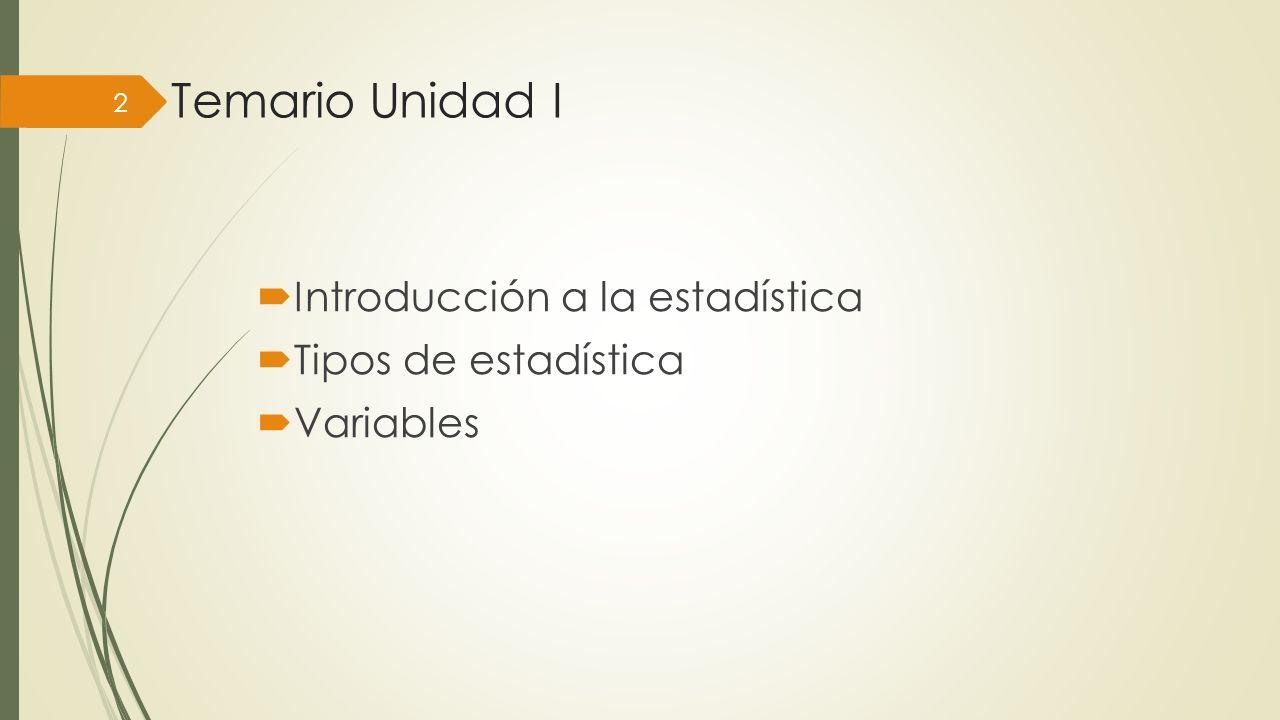 Temario Unidad I Introducción a la estadística Tipos de estadística Variables 2