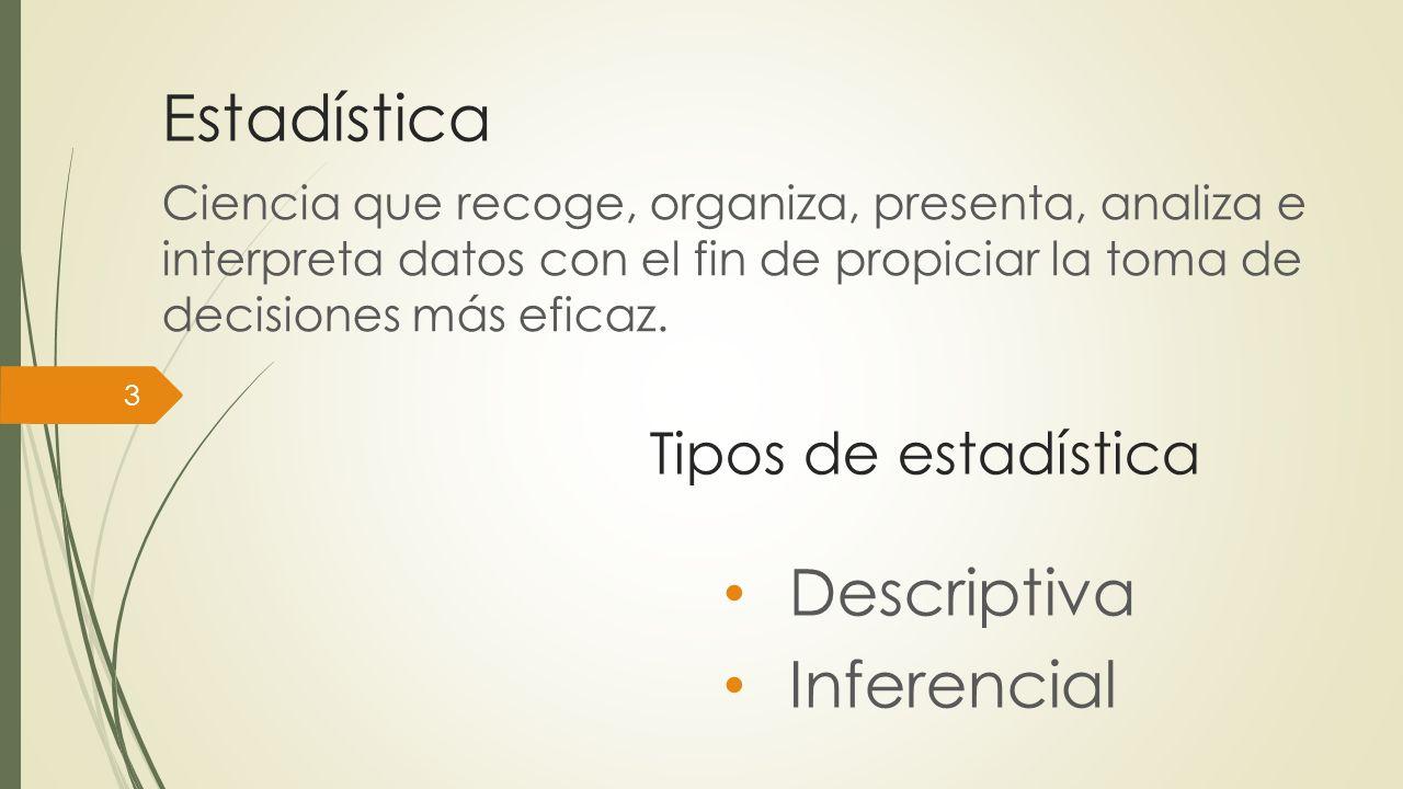 Estadística Ciencia que recoge, organiza, presenta, analiza e interpreta datos con el fin de propiciar la toma de decisiones más eficaz. 3 Tipos de es