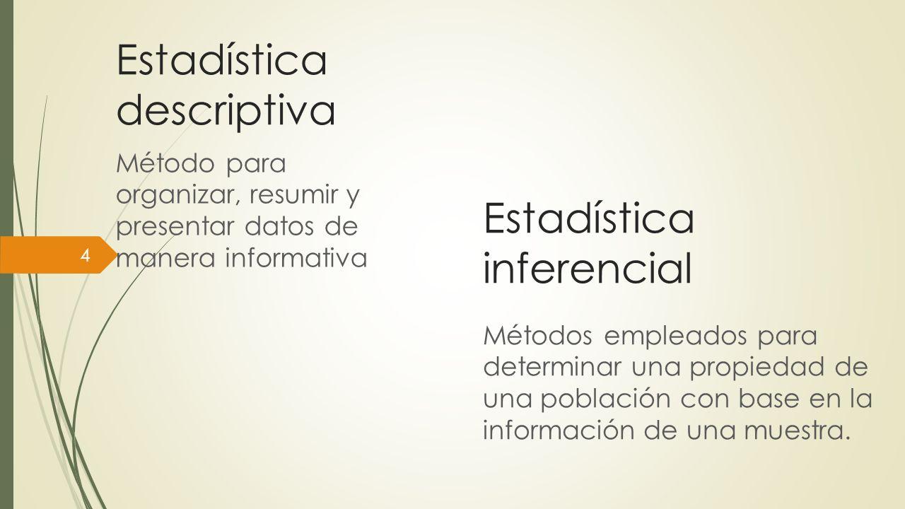 Estadística descriptiva Método para organizar, resumir y presentar datos de manera informativa 4 Estadística inferencial Métodos empleados para determ