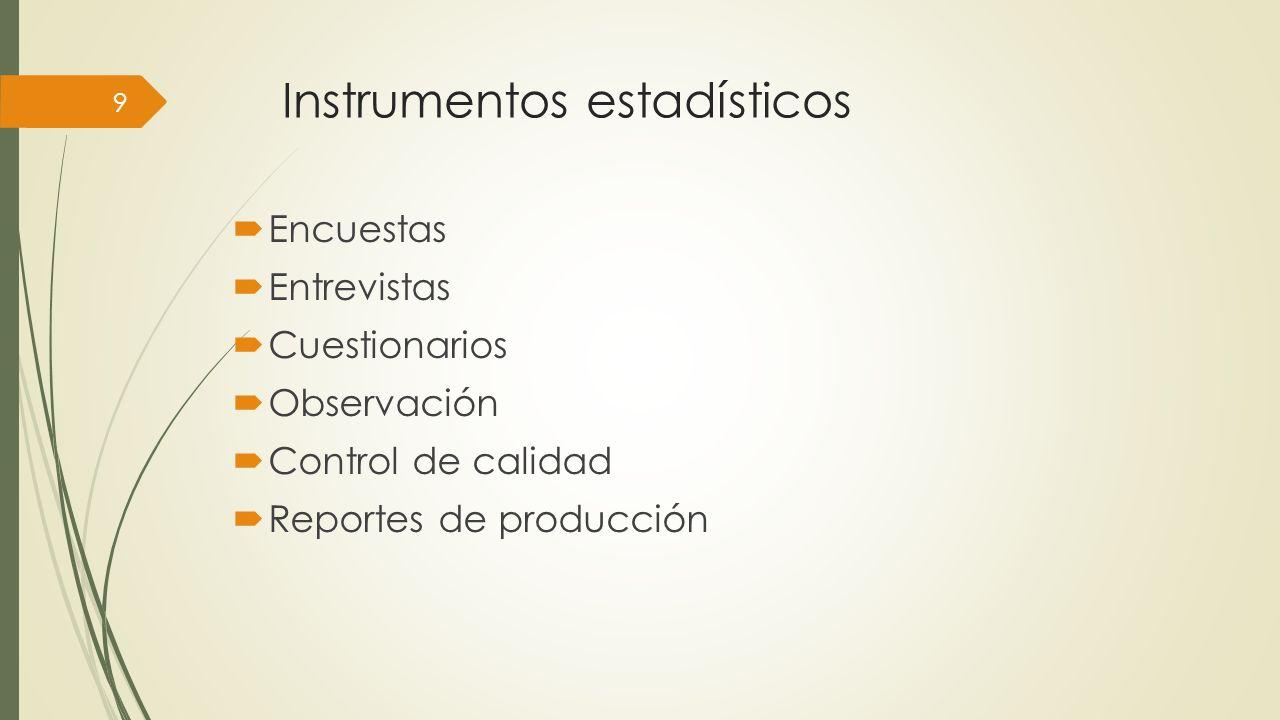 Instrumentos estadísticos Encuestas Entrevistas Cuestionarios Observación Control de calidad Reportes de producción 9