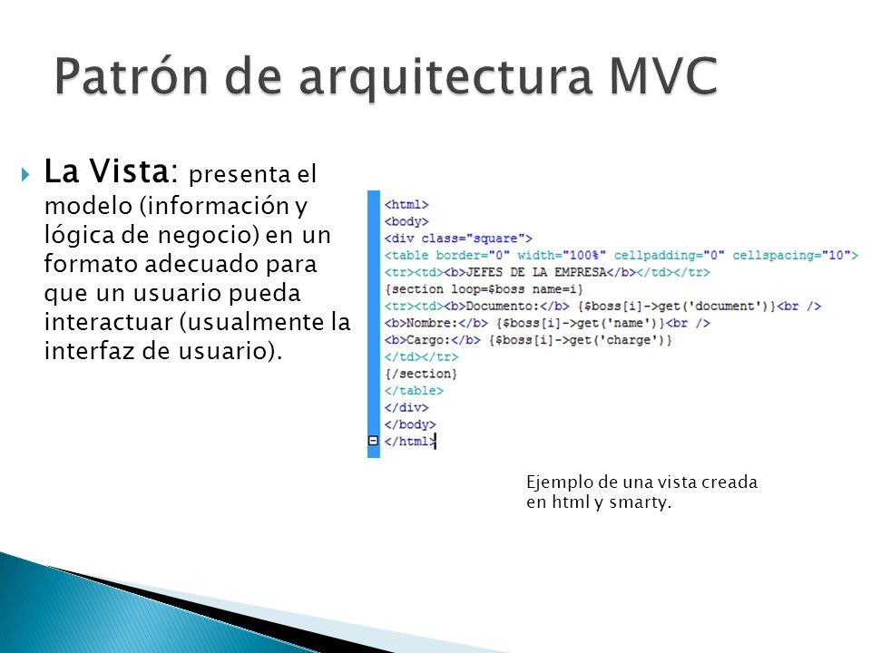 El controlador: es el intermediario entre la vista y el modelo, su función consiste en controlar el flujo de datos, responder a eventos (usualmente provocados por los usuarios) e invocar peticiones al modelo.