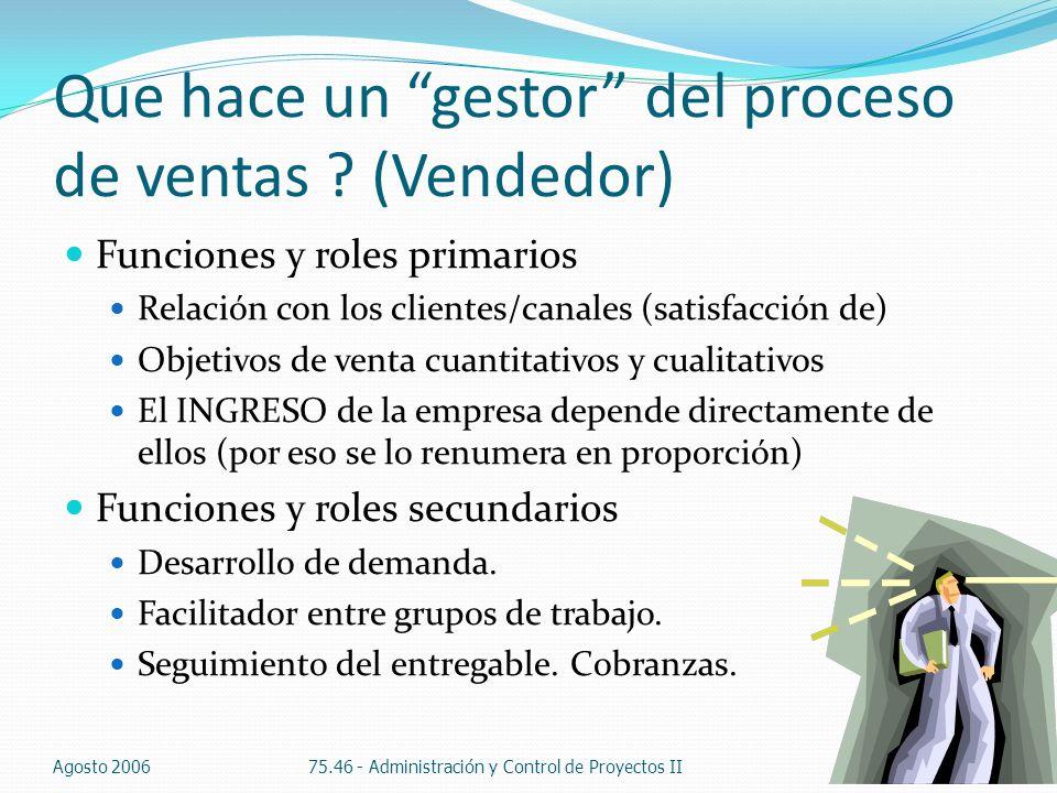 Que hace un gestor del proceso de ventas ? (Vendedor) Funciones y roles primarios Relación con los clientes/canales (satisfacción de) Objetivos de ven