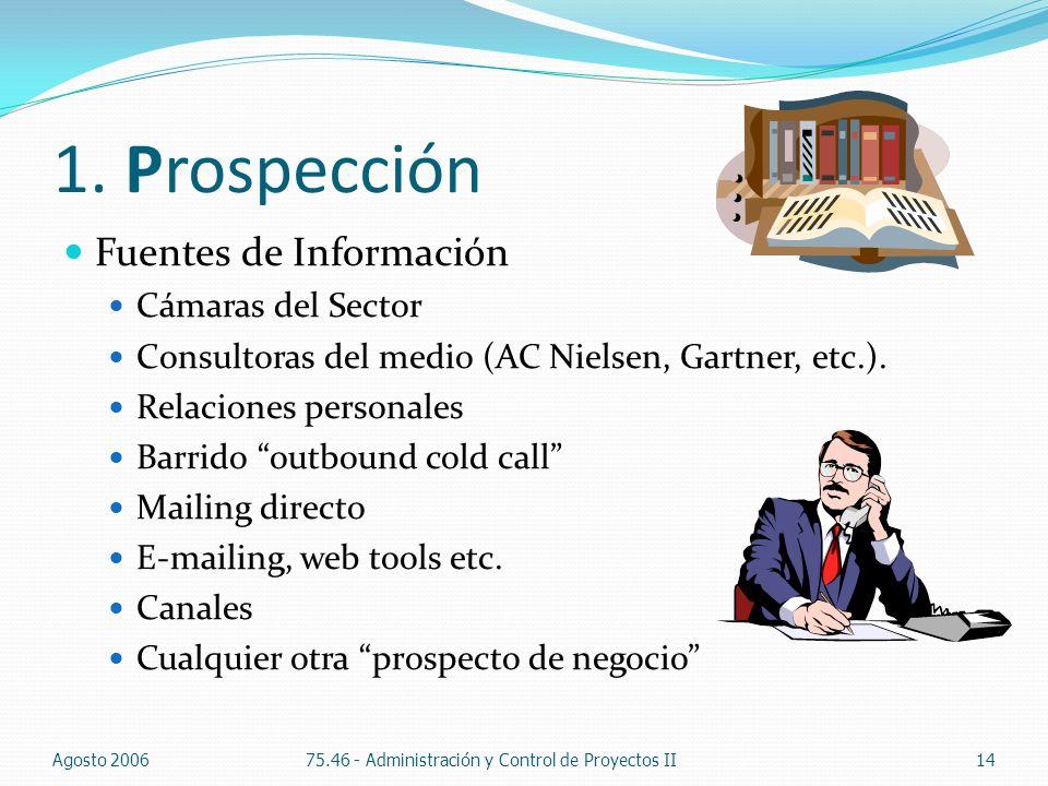 1. Prospección Fuentes de Información Cámaras del Sector Consultoras del medio (AC Nielsen, Gartner, etc.). Relaciones personales Barrido outbound col