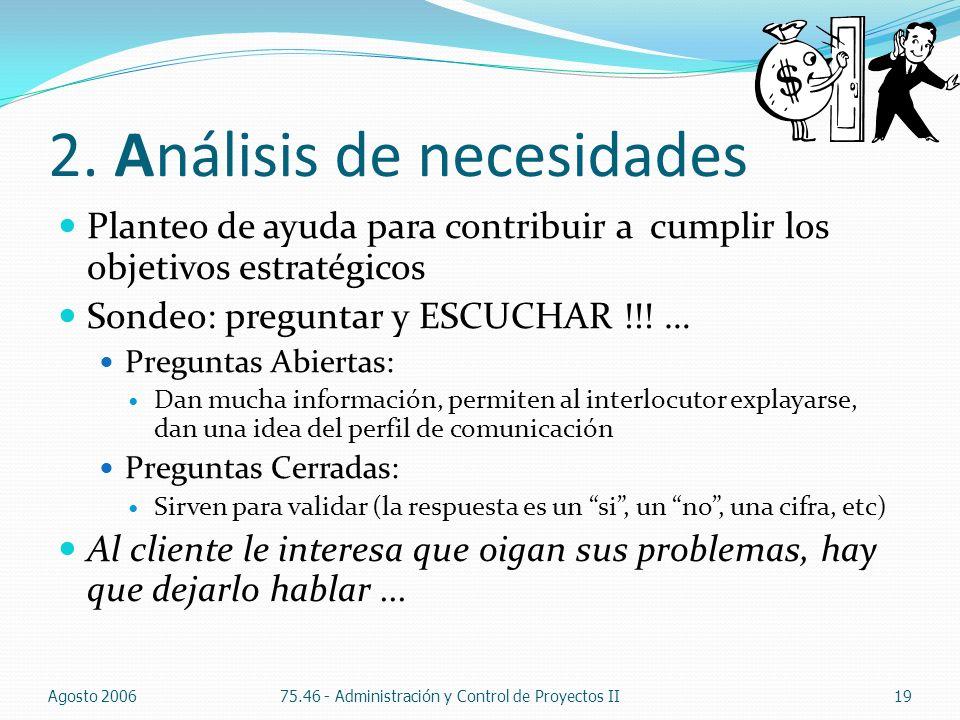 2. Análisis de necesidades Planteo de ayuda para contribuir a cumplir los objetivos estratégicos Sondeo: preguntar y ESCUCHAR !!! … Preguntas Abiertas