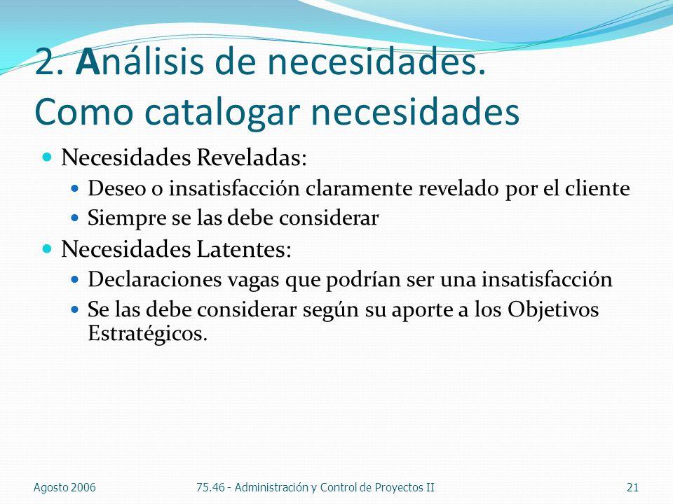 2. Análisis de necesidades. Como catalogar necesidades Necesidades Reveladas: Deseo o insatisfacción claramente revelado por el cliente Siempre se las