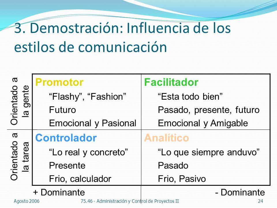3. Demostración: Influencia de los estilos de comunicación Agosto 200675.46 - Administración y Control de Proyectos II24 Promotor Flashy, Fashion Futu