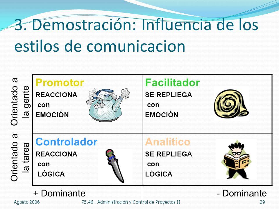 3. Demostración: Influencia de los estilos de comunicacion Agosto 200675.46 - Administración y Control de Proyectos II29 Promotor REACCIONA con EMOCIÓ