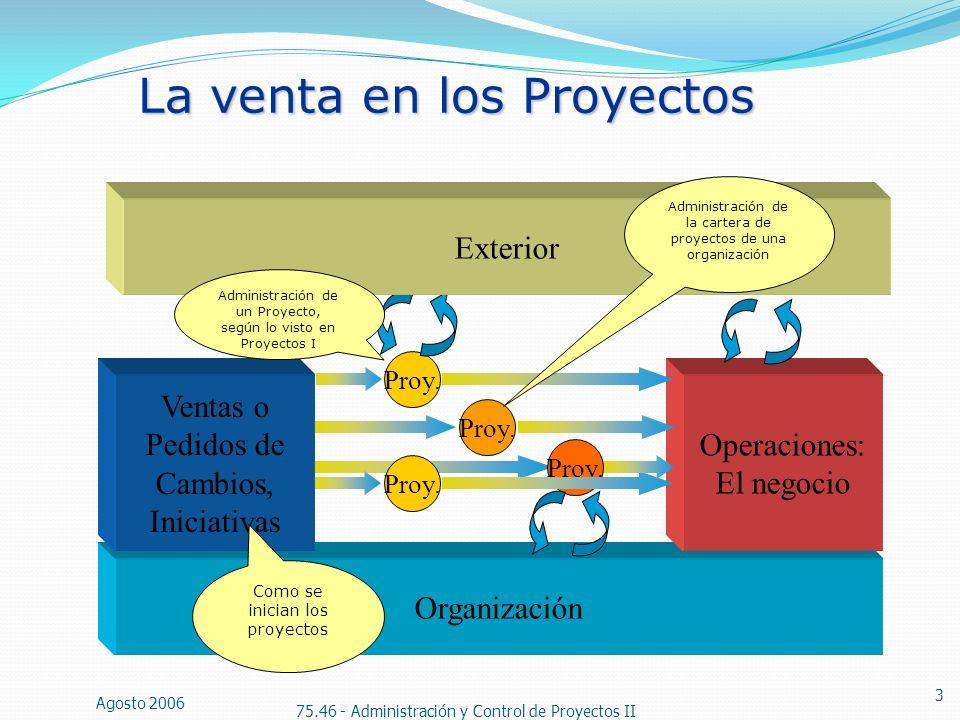 Agosto 2006 75.46 - Administración y Control de Proyectos II 3 La venta en los Proyectos Organización Ventas o Pedidos de Cambios, Iniciativas Proy. O