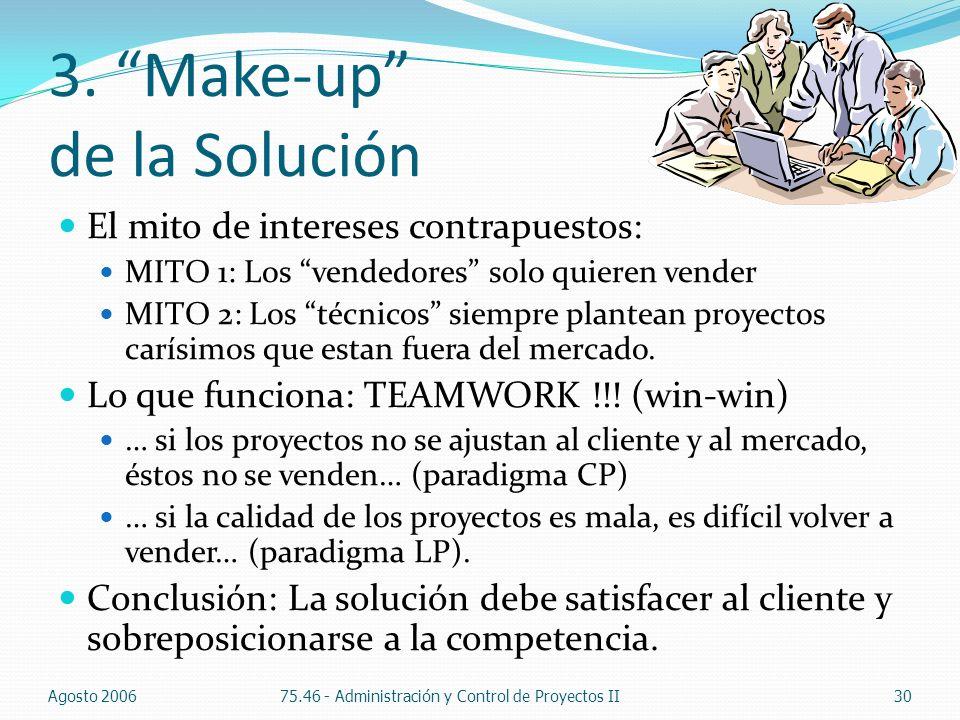 3. Make-up de la Solución El mito de intereses contrapuestos: MITO 1: Los vendedores solo quieren vender MITO 2: Los técnicos siempre plantean proyect