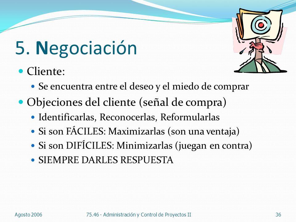 5. Negociación Cliente: Se encuentra entre el deseo y el miedo de comprar Objeciones del cliente (señal de compra) Identificarlas, Reconocerlas, Refor