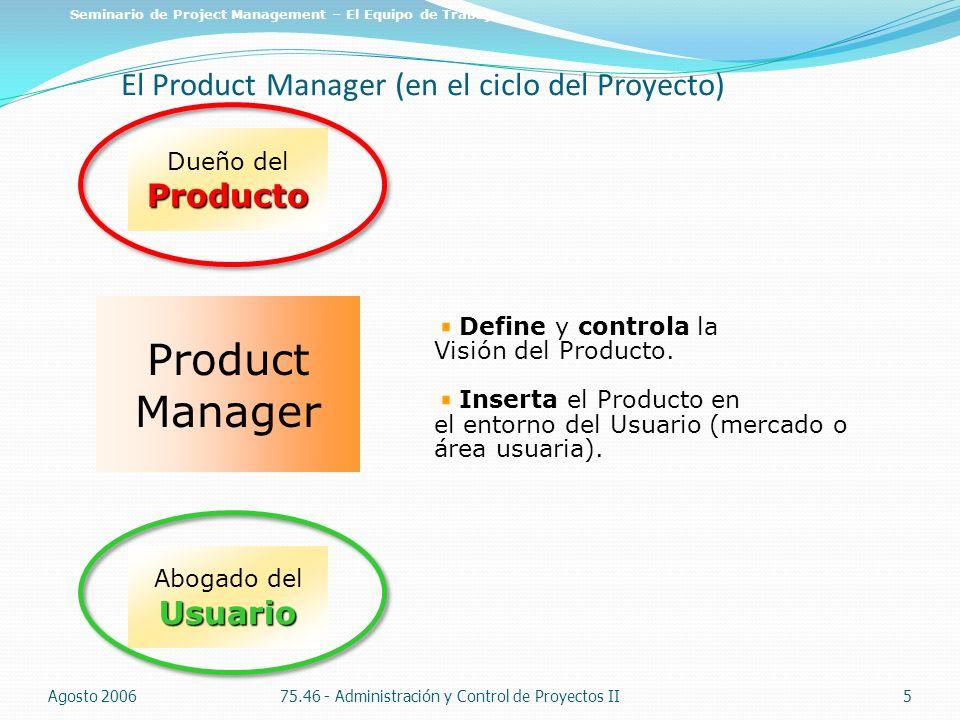 El Product Manager (en el ciclo del Proyecto) Agosto 200675.46 - Administración y Control de Proyectos II5 Seminario de Project Management – El Equipo
