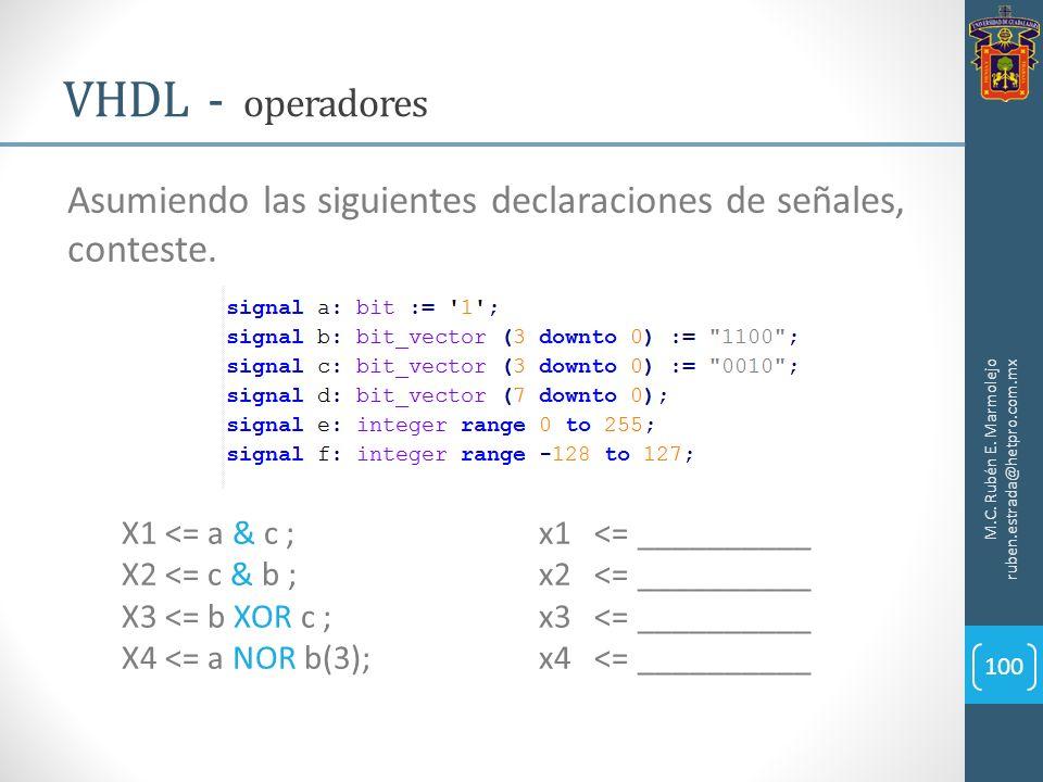 M.C. Rubén E. Marmolejo ruben.estrada@hetpro.com.mx VHDL - operadores 100 Asumiendo las siguientes declaraciones de señales, conteste. X1 <= a & c ; x