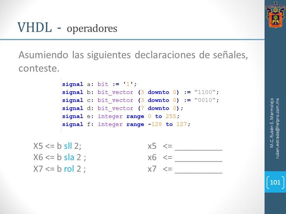 M.C. Rubén E. Marmolejo ruben.estrada@hetpro.com.mx VHDL - operadores 101 Asumiendo las siguientes declaraciones de señales, conteste. X5 <= b sll 2;