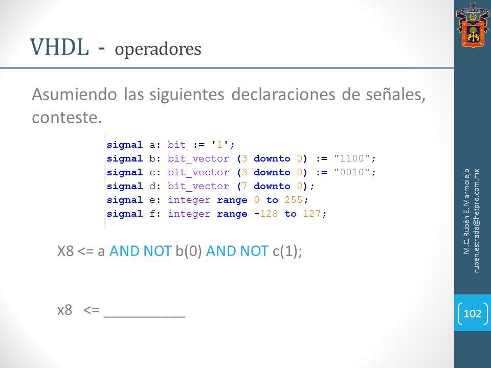 M.C. Rubén E. Marmolejo ruben.estrada@hetpro.com.mx VHDL - operadores 102 Asumiendo las siguientes declaraciones de señales, conteste. X8 <= a AND NOT