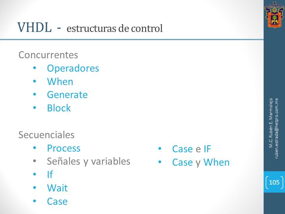 M.C. Rubén E. Marmolejo ruben.estrada@hetpro.com.mx VHDL - estructuras de control 105 Concurrentes Operadores When Generate Block Secuenciales Process
