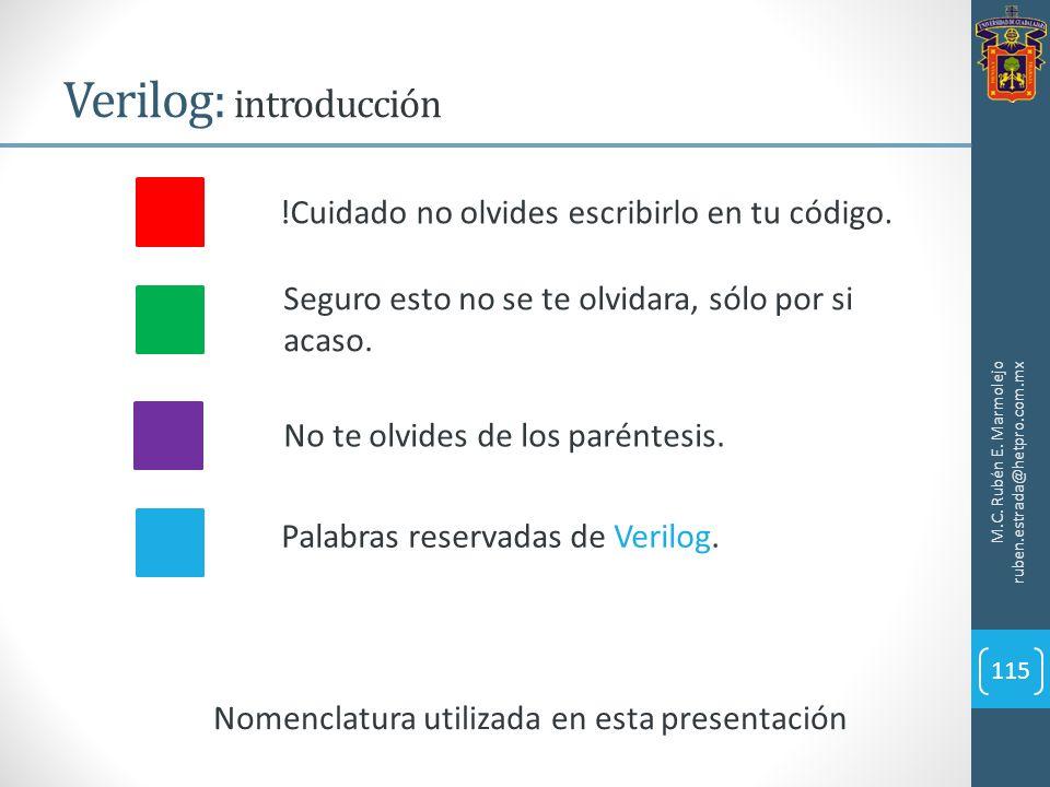 Verilog: introducción M.C. Rubén E. Marmolejo ruben.estrada@hetpro.com.mx 115 Nomenclatura utilizada en esta presentación !Cuidado no olvides escribir