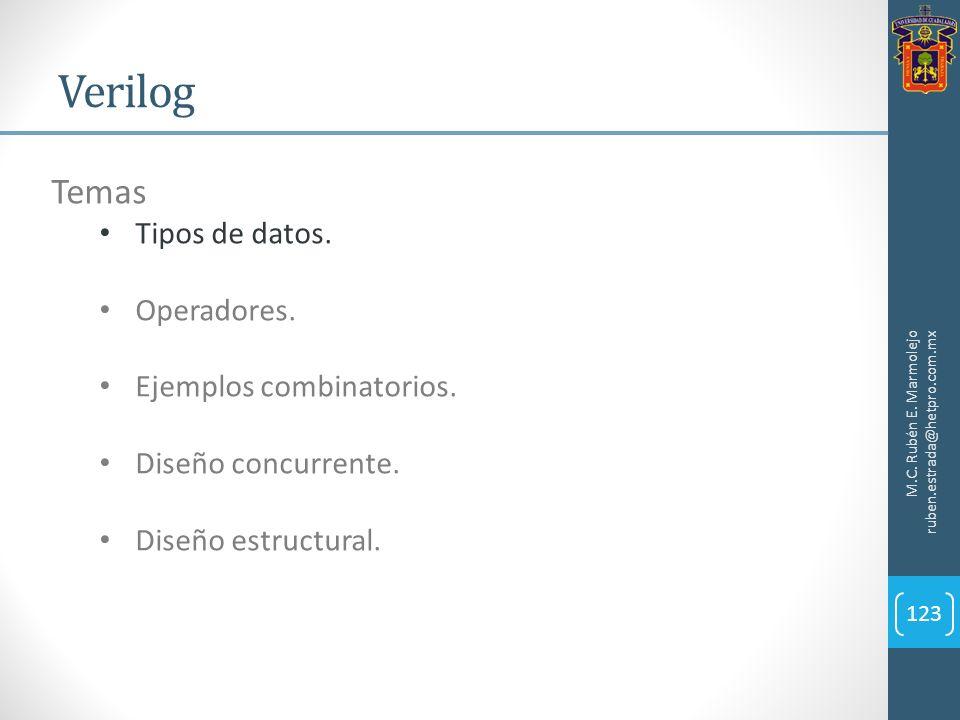 Verilog M.C. Rubén E. Marmolejo ruben.estrada@hetpro.com.mx 123 Temas Tipos de datos. Operadores. Ejemplos combinatorios. Diseño concurrente. Diseño e