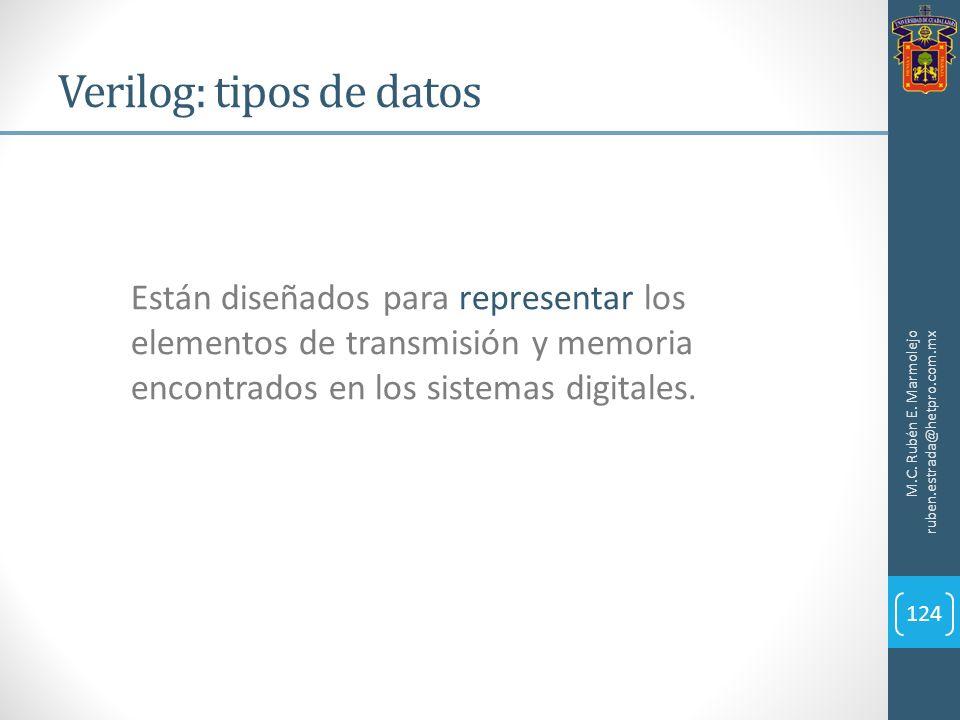 Verilog: tipos de datos M.C. Rubén E. Marmolejo ruben.estrada@hetpro.com.mx 124 Están diseñados para representar los elementos de transmisión y memori