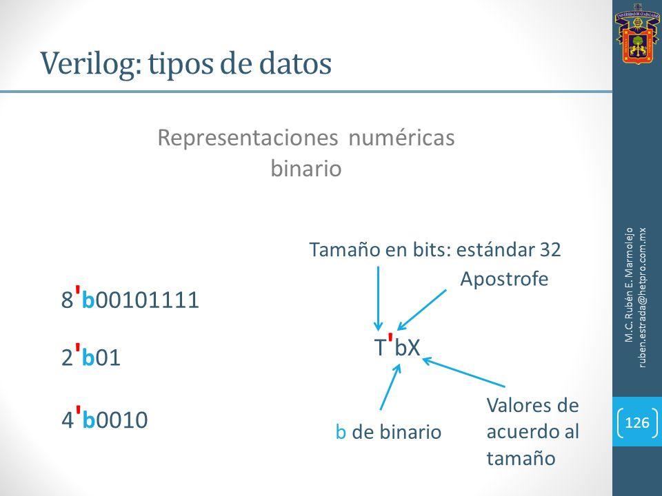 Verilog: tipos de datos M.C. Rubén E. Marmolejo ruben.estrada@hetpro.com.mx 126 Representaciones numéricas binario 4 ' b0010 T ' bX Tamaño en bits: es