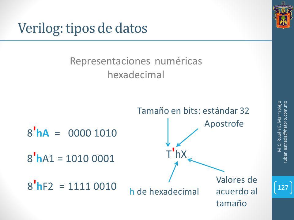 Verilog: tipos de datos M.C. Rubén E. Marmolejo ruben.estrada@hetpro.com.mx 127 Representaciones numéricas hexadecimal 8 ' hF2 = 1111 0010 T ' hX Apos