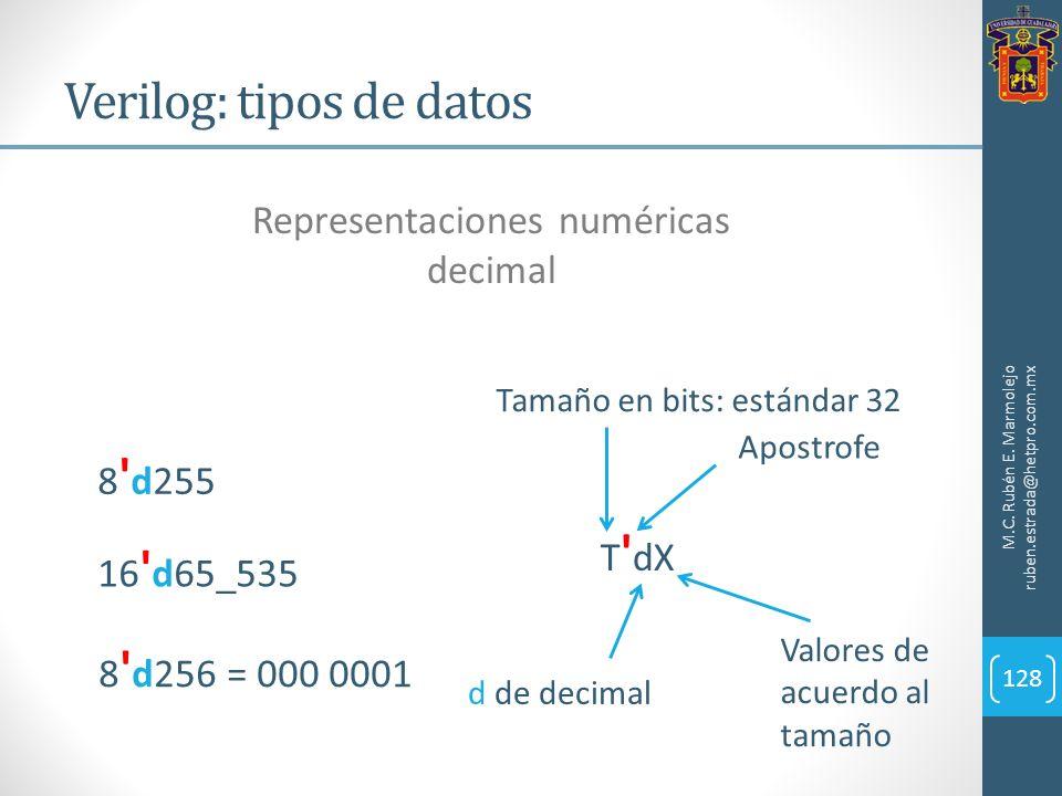 Verilog: tipos de datos M.C. Rubén E. Marmolejo ruben.estrada@hetpro.com.mx 128 Representaciones numéricas decimal 8 ' d256 = 000 0001 T ' dX Apostrof