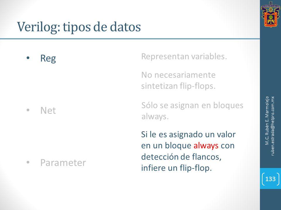 Verilog: tipos de datos M.C. Rubén E. Marmolejo ruben.estrada@hetpro.com.mx 133 Reg Net Parameter Representan variables. No necesariamente sintetizan