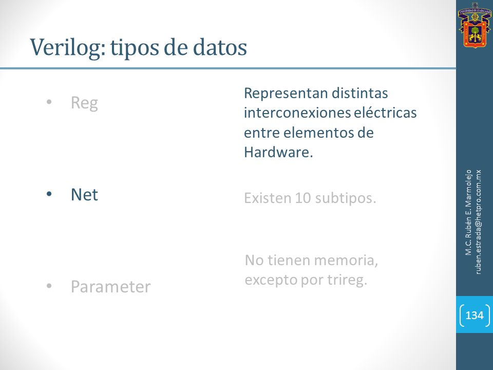 Verilog: tipos de datos M.C. Rubén E. Marmolejo ruben.estrada@hetpro.com.mx 134 Reg Net Parameter Representan distintas interconexiones eléctricas ent