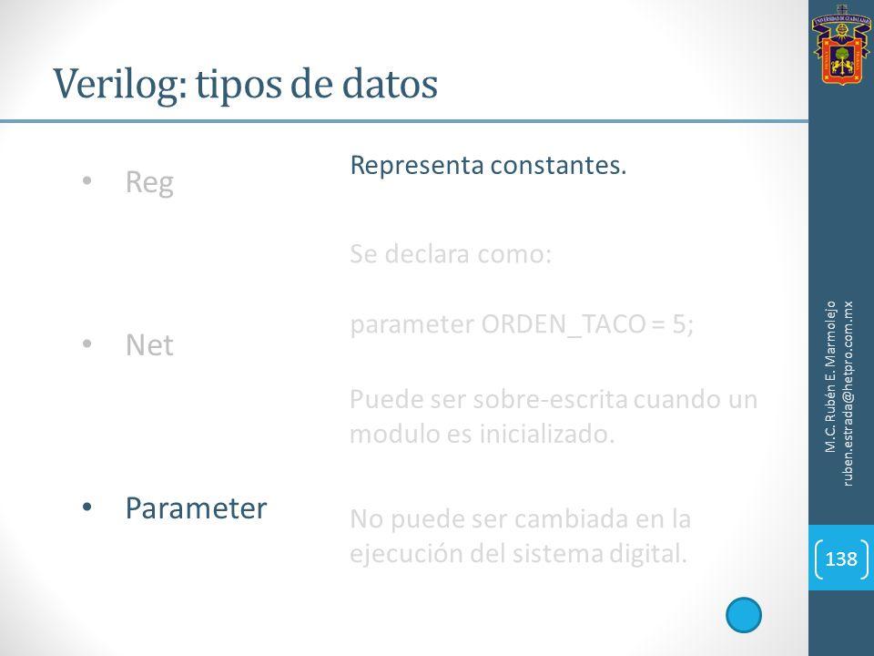 Verilog: tipos de datos M.C. Rubén E. Marmolejo ruben.estrada@hetpro.com.mx 138 Reg Net Parameter Representa constantes. Se declara como: parameter OR
