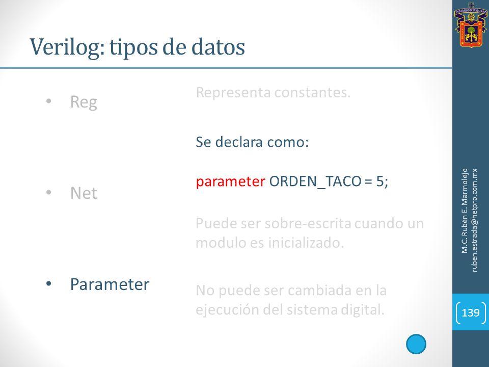 Verilog: tipos de datos M.C. Rubén E. Marmolejo ruben.estrada@hetpro.com.mx 139 Reg Net Parameter Representa constantes. Se declara como: parameter OR