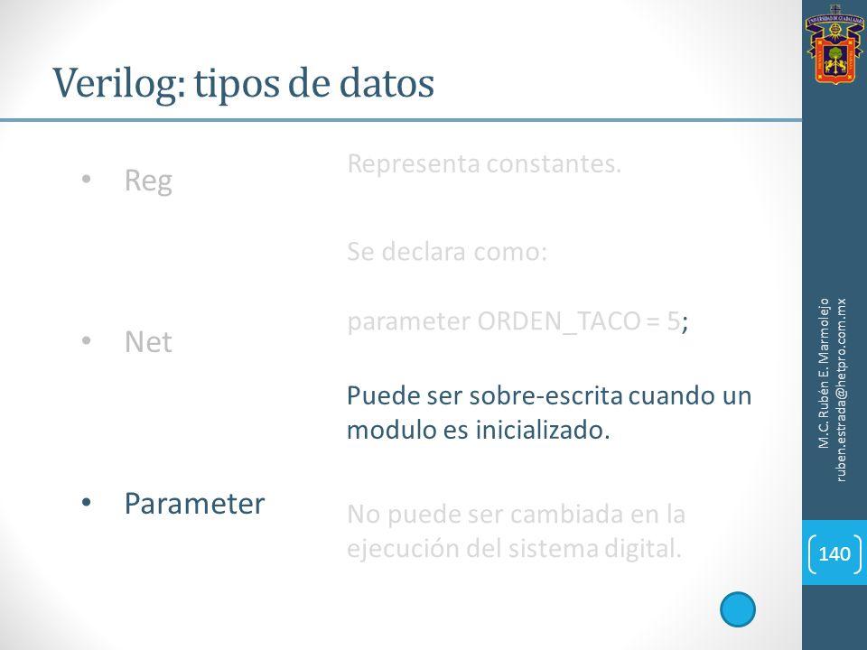 Verilog: tipos de datos M.C. Rubén E. Marmolejo ruben.estrada@hetpro.com.mx 140 Reg Net Parameter Representa constantes. Se declara como: parameter OR