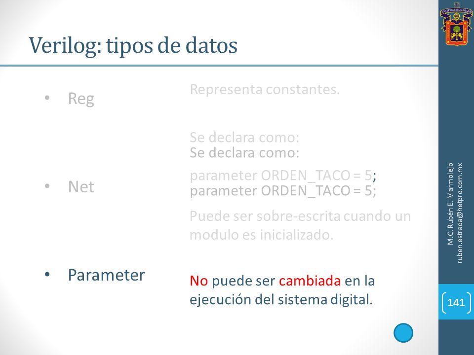 Verilog: tipos de datos M.C. Rubén E. Marmolejo ruben.estrada@hetpro.com.mx 141 Reg Net Parameter Representa constantes. Se declara como: parameter OR