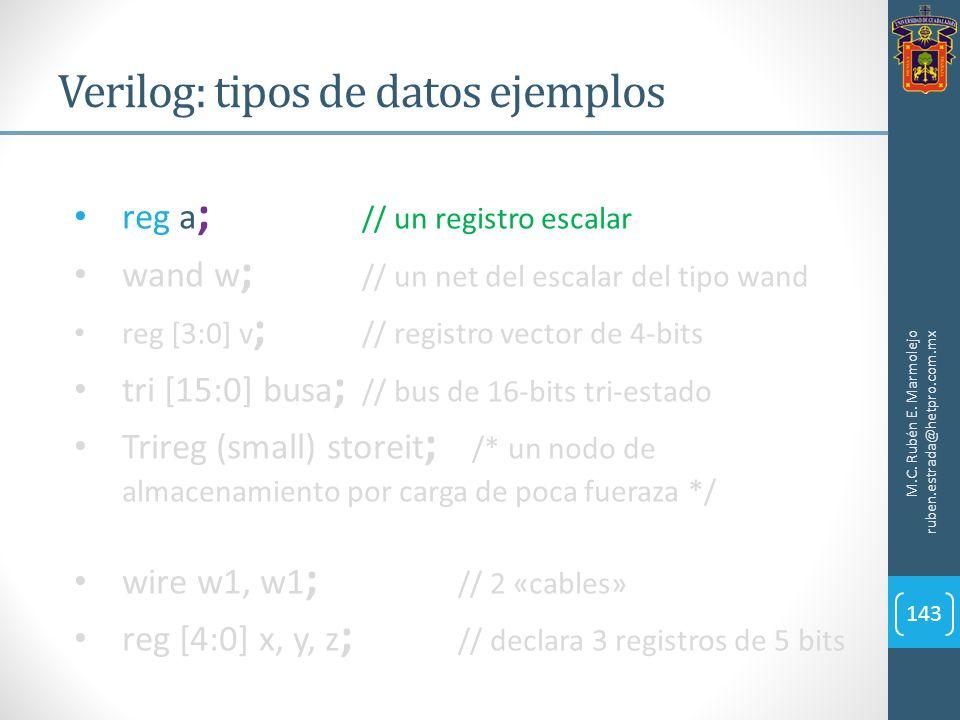 Verilog: tipos de datos ejemplos M.C. Rubén E. Marmolejo ruben.estrada@hetpro.com.mx 143 reg a ; // un registro escalar wand w ; // un net del escalar