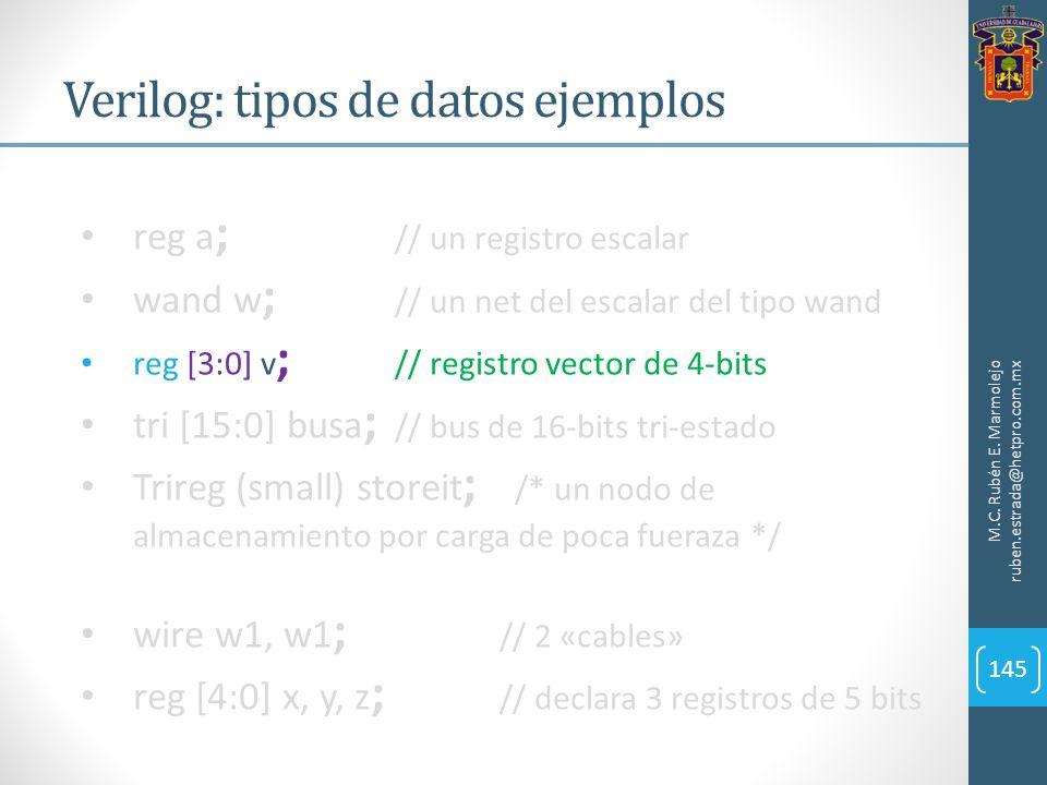 Verilog: tipos de datos ejemplos M.C. Rubén E. Marmolejo ruben.estrada@hetpro.com.mx 145 reg a ; // un registro escalar wand w ; // un net del escalar