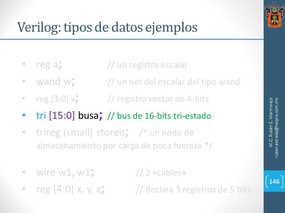 Verilog: tipos de datos ejemplos M.C. Rubén E. Marmolejo ruben.estrada@hetpro.com.mx 146 reg a ; // un registro escalar wand w ; // un net del escalar