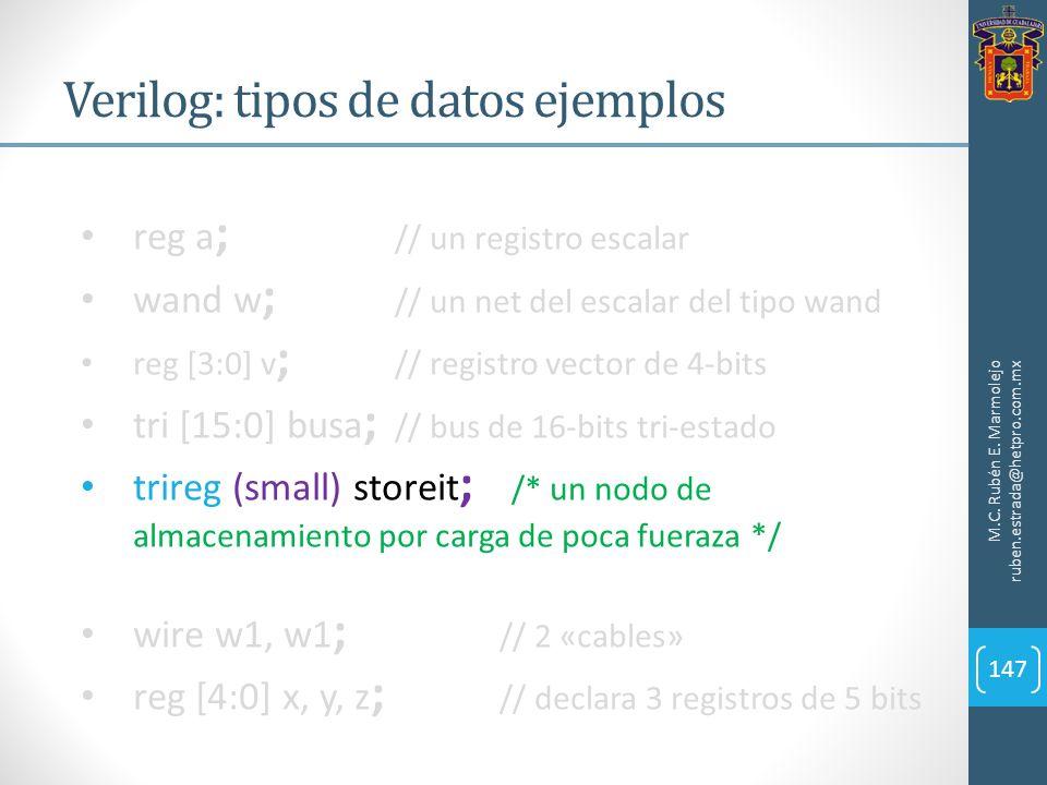 Verilog: tipos de datos ejemplos M.C. Rubén E. Marmolejo ruben.estrada@hetpro.com.mx 147 reg a ; // un registro escalar wand w ; // un net del escalar