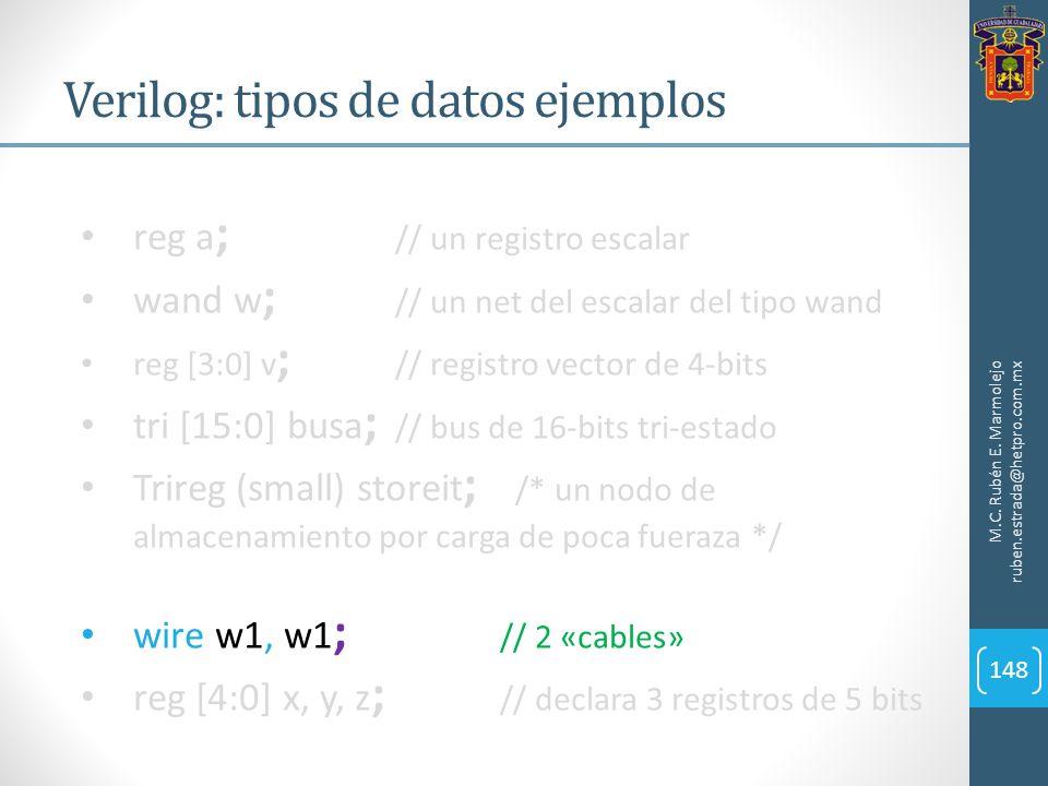Verilog: tipos de datos ejemplos M.C. Rubén E. Marmolejo ruben.estrada@hetpro.com.mx 148 reg a ; // un registro escalar wand w ; // un net del escalar