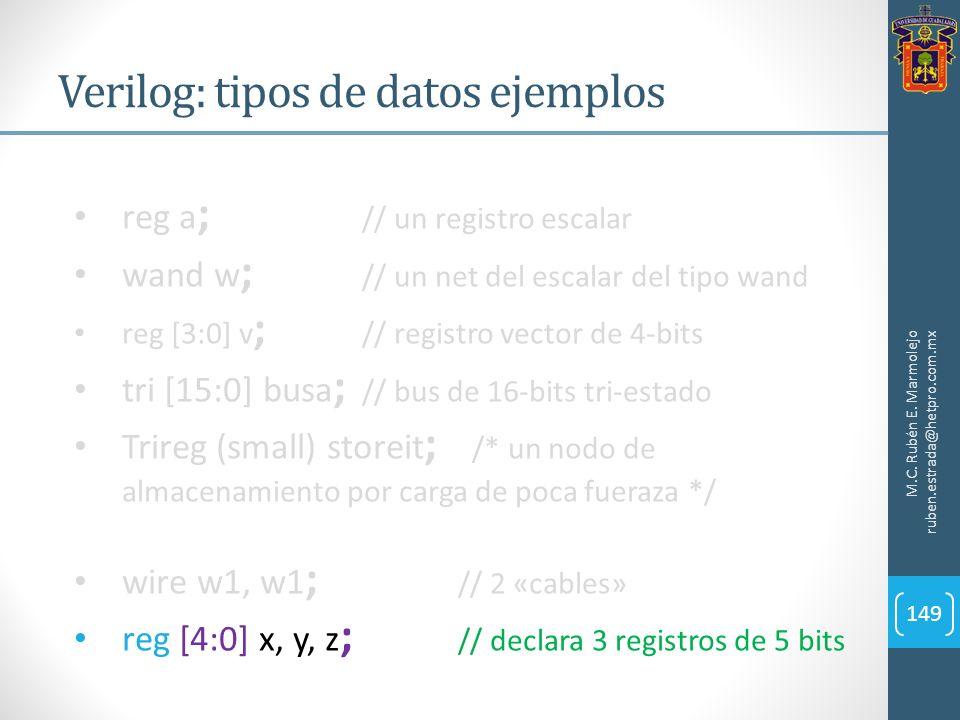 Verilog: tipos de datos ejemplos M.C. Rubén E. Marmolejo ruben.estrada@hetpro.com.mx 149 reg a ; // un registro escalar wand w ; // un net del escalar