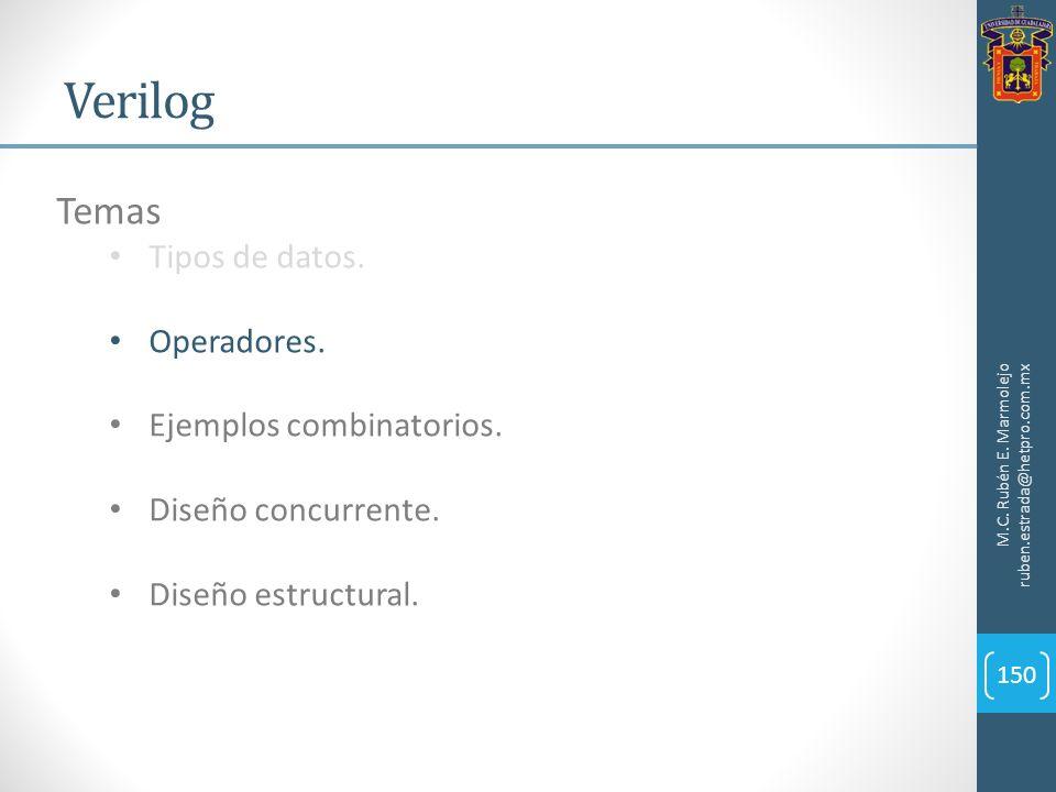 Verilog M.C. Rubén E. Marmolejo ruben.estrada@hetpro.com.mx 150 Temas Tipos de datos. Operadores. Ejemplos combinatorios. Diseño concurrente. Diseño e