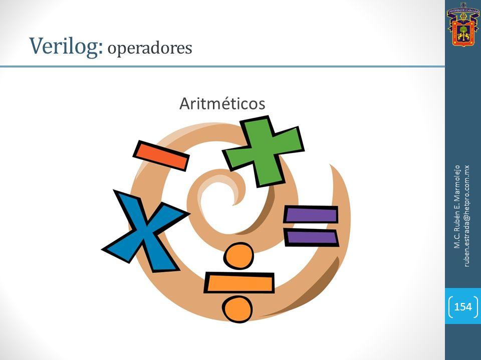 Verilog: operadores M.C. Rubén E. Marmolejo ruben.estrada@hetpro.com.mx 154 Aritméticos