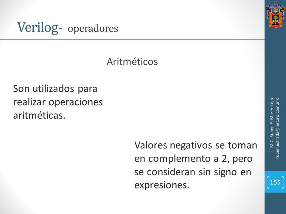 M.C. Rubén E. Marmolejo ruben.estrada@hetpro.com.mx Verilog- operadores 155 Son utilizados para realizar operaciones aritméticas. Aritméticos Valores