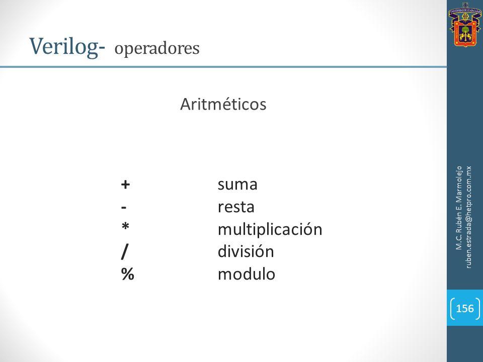 M.C. Rubén E. Marmolejo ruben.estrada@hetpro.com.mx Verilog- operadores 156 Aritméticos +suma -resta *multiplicación /división %modulo