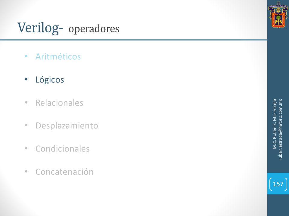 M.C. Rubén E. Marmolejo ruben.estrada@hetpro.com.mx Verilog- operadores 157 Aritméticos Lógicos Relacionales Desplazamiento Condicionales Concatenació
